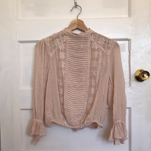 Free People Pink Romantic Blouse, Size Small